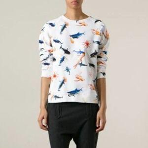 Au Jour Le Jour Shark and Barbie Print Sweatshirt